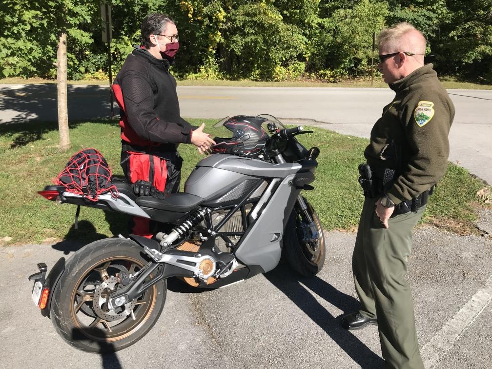 Jake showing his Zero motorcycles