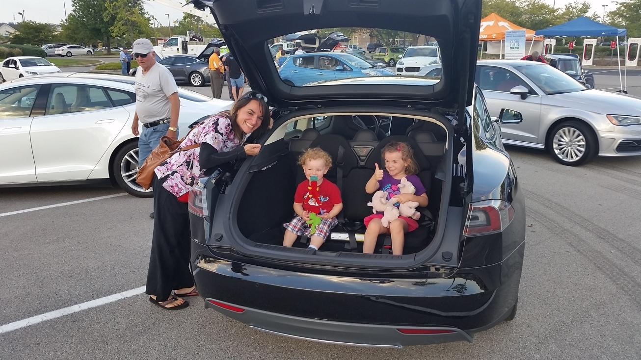 Tesla - kids in rear